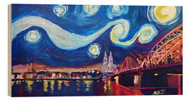 Obraz na drewnie  Starry Night in Cologne - Van Gogh inspirations on Rhine with Cathedral and Hohenzollern Bridge - M. Bleichner