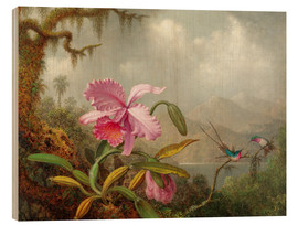 Obraz na drewnie  Cattleya Orchid and three Brazilian hummingbirds - Martin Johnson Heade