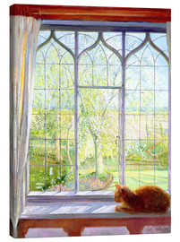 Obraz na płótnie  Cat in window in spring - Timothy Easton