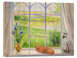 Obraz na drewnie  Cats at the window - Timothy Easton