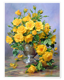 Plakat Bright Smile - Roses in a Silver Vase