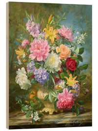 Obraz na drewnie  Peonies and mixed flowers - Albert Williams