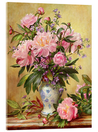 Obraz na szkle akrylowym  Vase of peonies and canterbury bells - Albert Williams