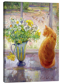 Obraz na płótnie  Cat with flowers in the window - Timothy Easton
