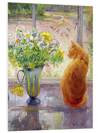 Obraz na PCV  Cat with flowers in the window - Timothy Easton