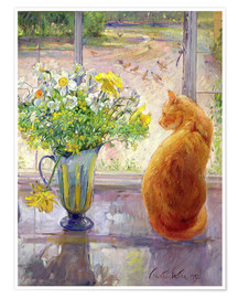 Plakat Cat with flowers in the window