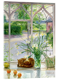 Obraz na szkle akrylowym  Sleeping cat in the window - Timothy Easton