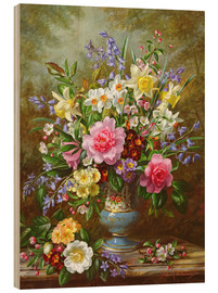 Obraz na drewnie  Bluebells, daffodils, primroses and peonies - Albert Williams