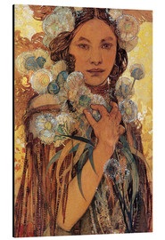 Obraz na aluminium  Native American woman with flowers and feathers - Alfons Mucha