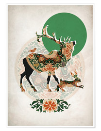 Plakat  Stag, bird and hare - Mandy Reinmuth