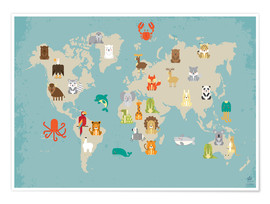 Plakat  World map with animals - Petit Griffin