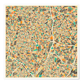 Plakat  Madrid map - Jazzberry Blue