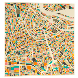 Obraz na szkle akrylowym  Map of Amsterdam - Jazzberry Blue