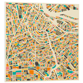 Obraz na PCV  Map of Amsterdam - Jazzberry Blue