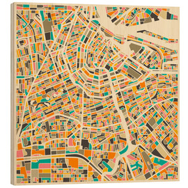 Obraz na drewnie  Map of Amsterdam - Jazzberry Blue
