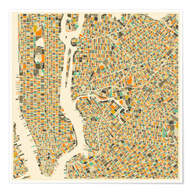 Plakat  New York map colorful - Jazzberry Blue