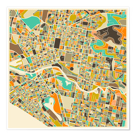 Plakat  Melbourne Map - Jazzberry Blue