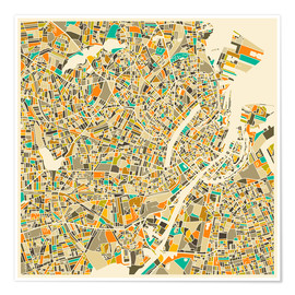Plakat  Copenhagen Map - Jazzberry Blue
