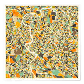 Plakat  Rome Map - Jazzberry Blue
