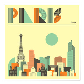 Plakat  Paris skyline - Jazzberry Blue