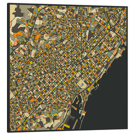 Obraz na aluminium  Barcelona map - Jazzberry Blue