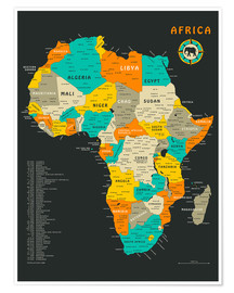Plakat  Africa Map - Jazzberry Blue