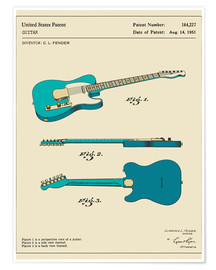 Plakat  Guitar Patent (1951) - Jazzberry Blue