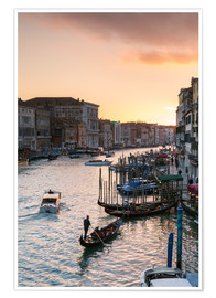 Plakat Sunset over the Grand Canal in Venice, Italy