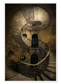 Plakat Old spiral staircase