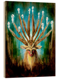 Obraz na drewnie  The Deer God of Life and Death - Barrett Biggers