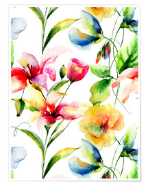 Plakat  Wildflowers in Watercolor