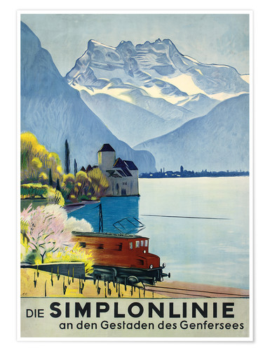 Plakat Simplon line - train ride around Lake Geneva.