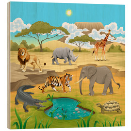 Obraz na drewnie  African animals in a savannah - Kidz Collection
