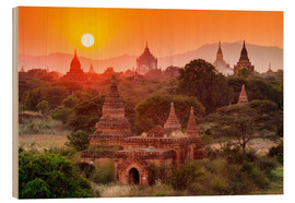 Obraz na drewnie  Temples of Bagan at sunset