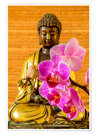 Plakat Buddha with orchid