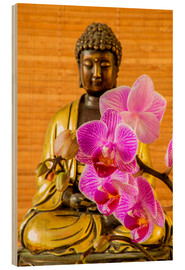 Obraz na drewnie  Buddha with orchid