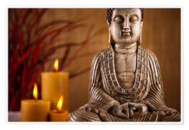 Plakat Buddha statue with candles