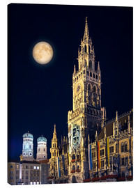 Obraz na płótnie  Night scene from Munich Town Hall
