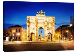 Obraz na płótnie  Victory Arch in Munich at night