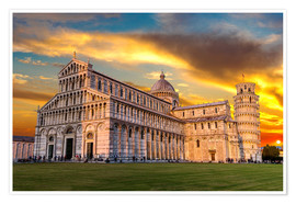 Plakat Pisa in the sunset
