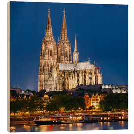Obraz na drewnie  Night view of Cologne Cathedral