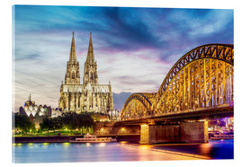 Obraz na szkle akrylowym  Lighted Cathedral with Rhine and Bridge, Cologne