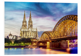 Obraz na PCV  Lighted Cathedral with Rhine and Bridge, Cologne
