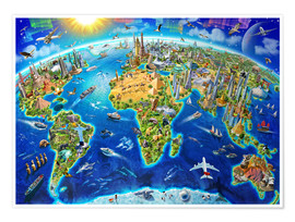 Plakat  World Landmarks Globe - Adrian Chesterman