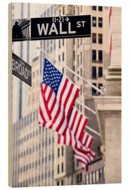 Obraz na drewnie  Wall street sign, New York Stock Exchange
