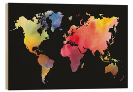 Obraz na drewnie  World map in Watercolor