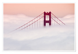 Plakat  Golden Gate Bridge in the clouds