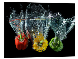 Obraz na aluminium  Peppers splash