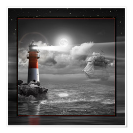Plakat Lighthouse and Sailboat in the Moonlight
