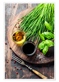 Plakat Herbs and spices on wooden board